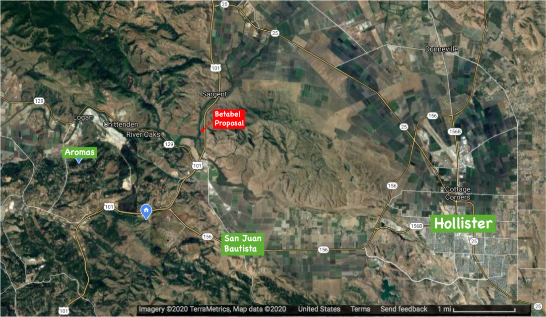 Satellite view of San Benito County with project location highlighted. Image courtesy of Goggle Earth and provided by Wayne Norton.
