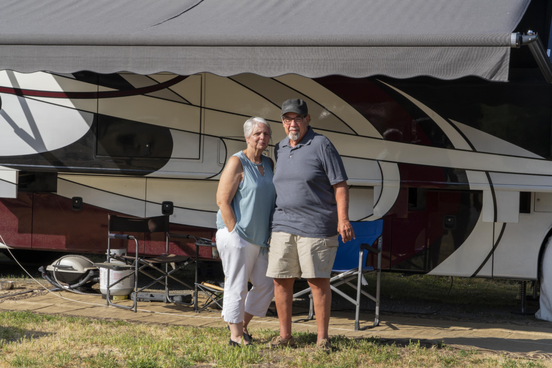 Theresa Kovacs, 63, and Rick Sicurella, 66, are in a limbo like thousands of other RV full-timers. Photo by Kirti Bassendine.