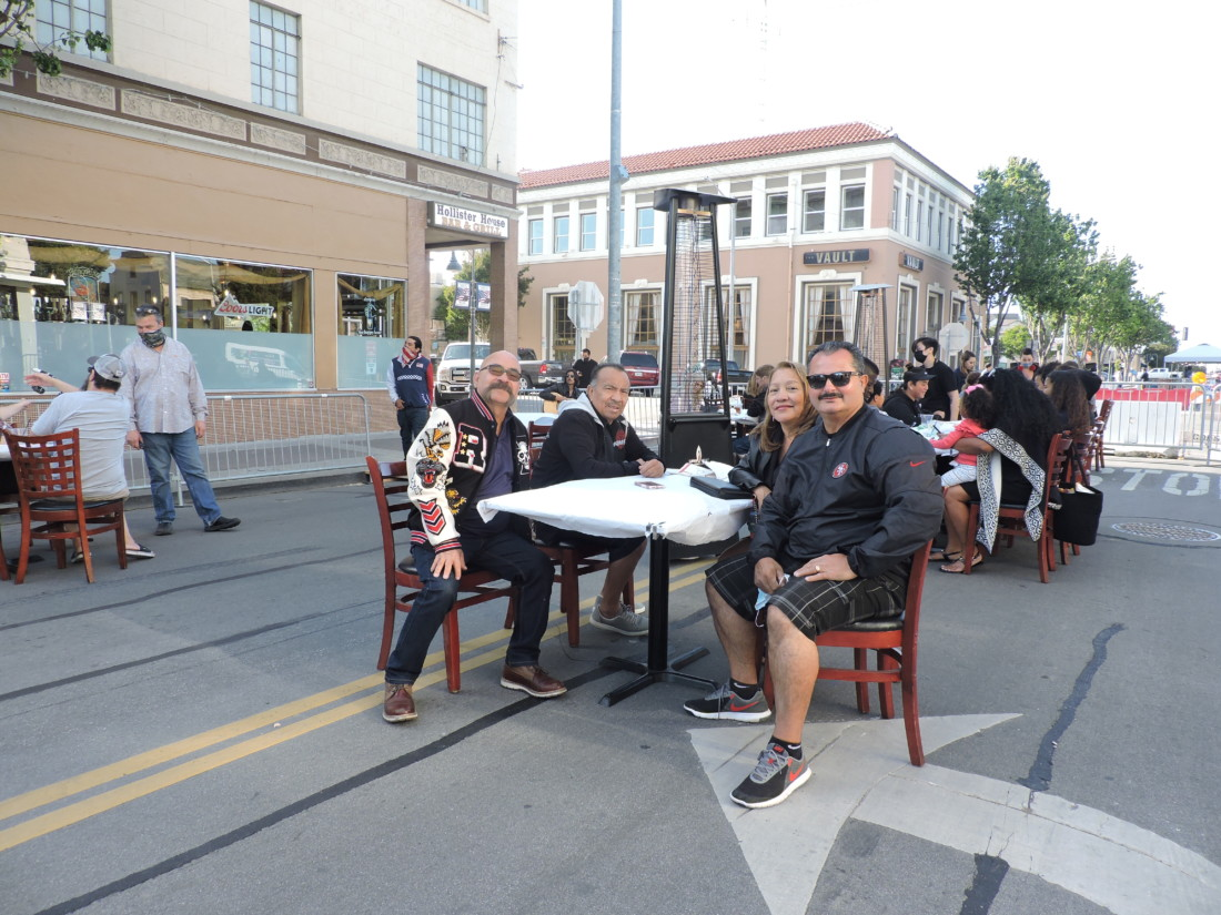 Albert Bracamonte and family dining outside Hollister House. Photos by Patty Lopez Day.