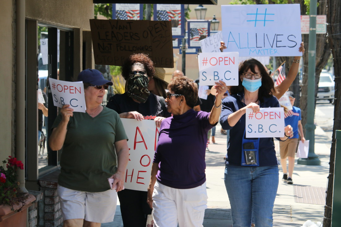 Participants in the #OpenSBCRally marched along San Benito Street on May 1. Photos by John Chadwell.