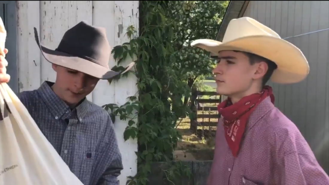 "Still image from ""Shootout at Tres Pinos,"" a three-minute film made by local teens Oliver and Finn Cross."