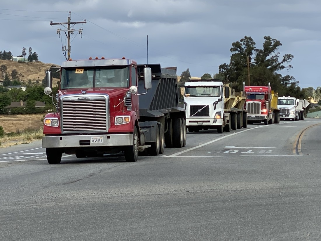 About 120 trucks make daily roundtrips from Gilroy to the Graniterock Southside Road quarry. Photo by Leslie David.