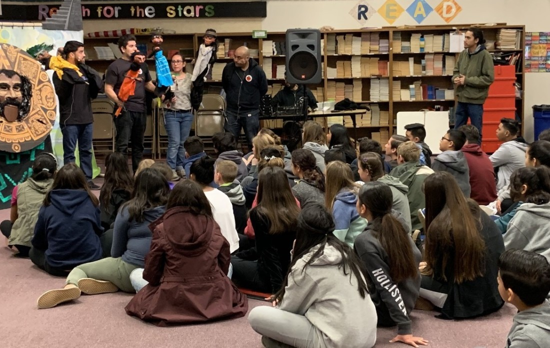 El Teatro Campesino actors and performers give an in-class lesson in 2018. With the coronavirus pandemic, the San Juan Bautista-based theater is taking its education program online. All photos provided by El Teatro Campesino.