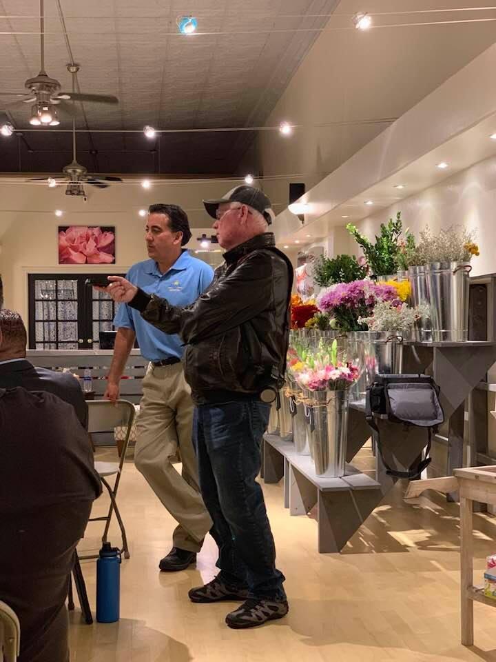 BenitoLink reporter John Chadwell (right) interviewing Hollister Mayor Ignacio Velazquez. Photo provided