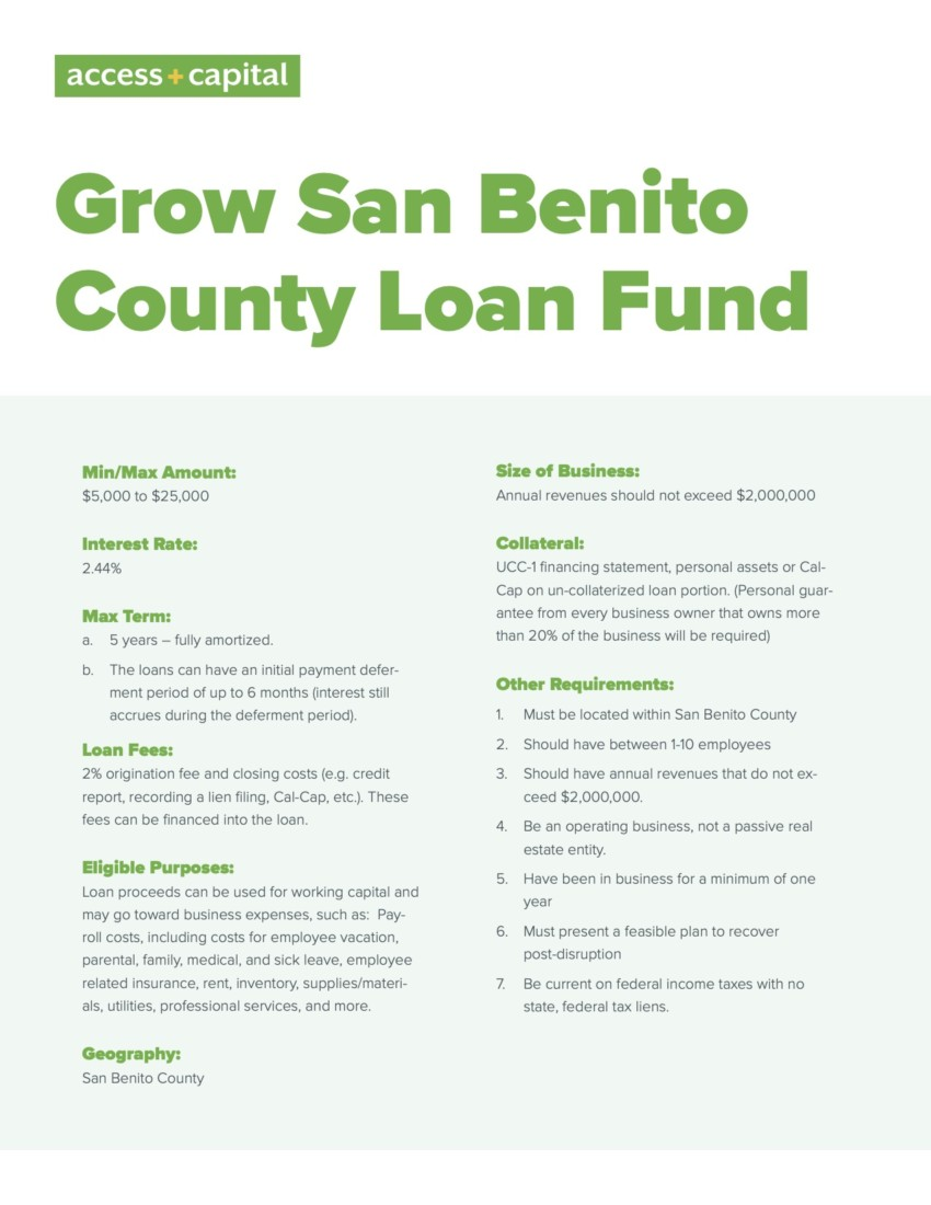 Provided by EDC of San Benito County.