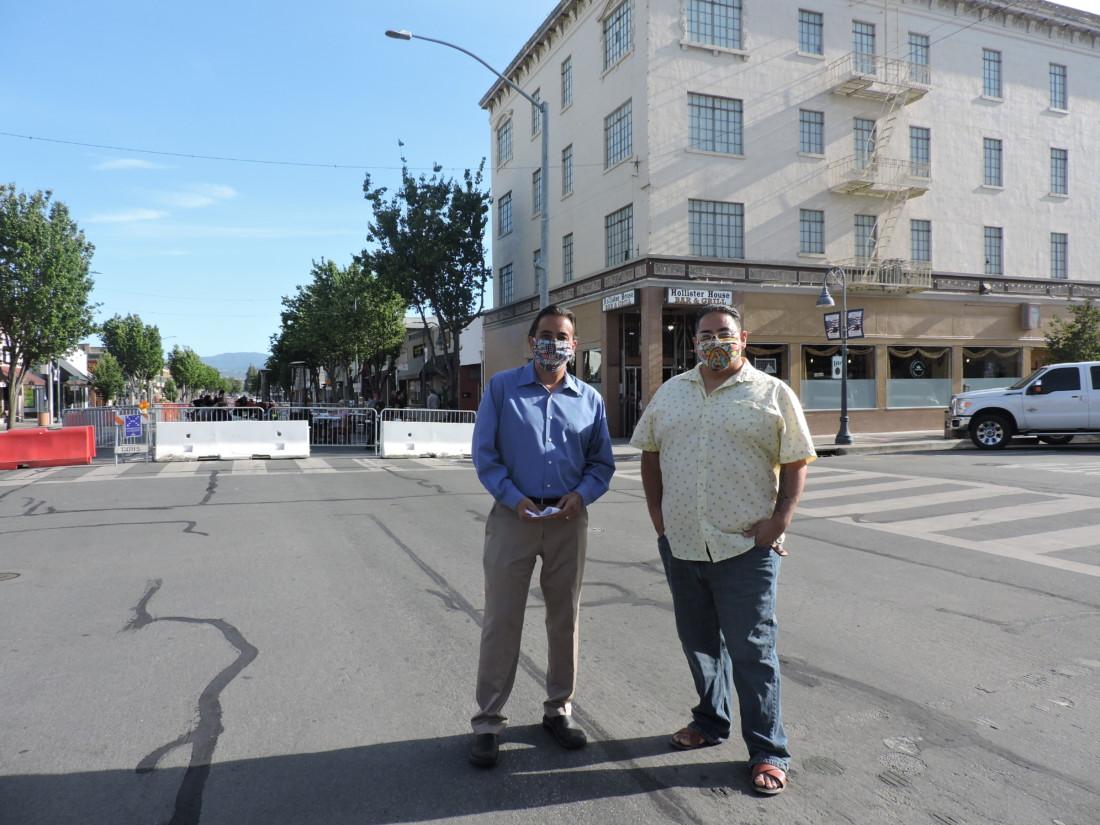 Hollister Mayor Ignacio Velazquez and Councilman Rolan Resendiz.
