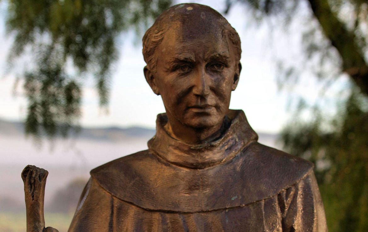 Junipero Serra statue at Mission San Juan Bautista. Photo by Robert Eliason