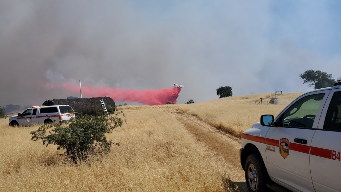 The Bitter Fire south of Paicines on June 16. Photo courtesy of the Cal Fire BEU Facebook page.