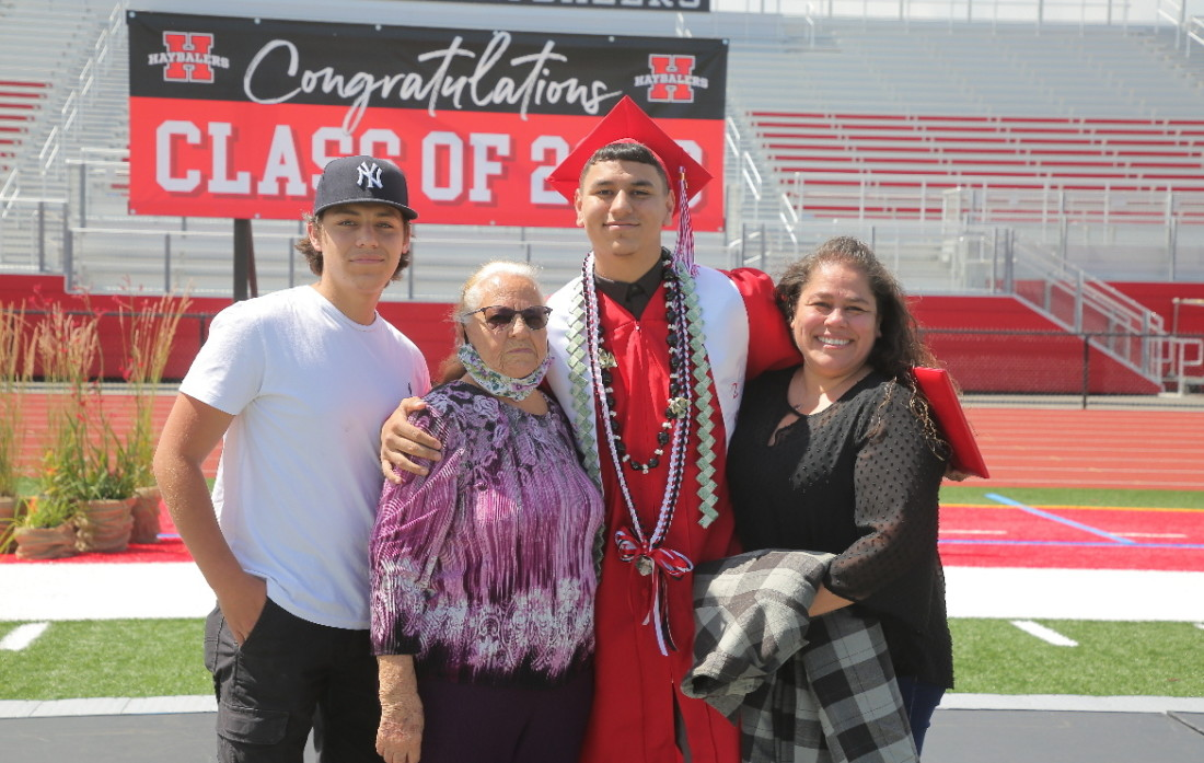 Greg Gonzalez and family at one of San Benito High School's small-group graduations from June 1-4. Photo by Robert Eliason.
