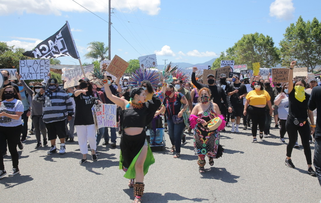 Protesters at the Black Lives Matter march on June 6 in Hollister. Photos by Robert Eliason.