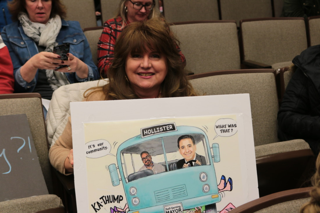 Irma Gonzalez and the caricature Councilman Resendiz referred to. File photo by John Chadwell.