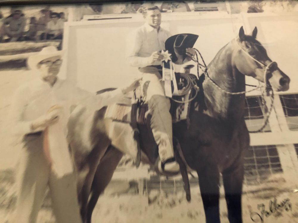 George Rose Jr.won the Hackamore Class in 1964. Here he is accepting the award on Princess Nile. Photo courtesy Tammy Rose.
