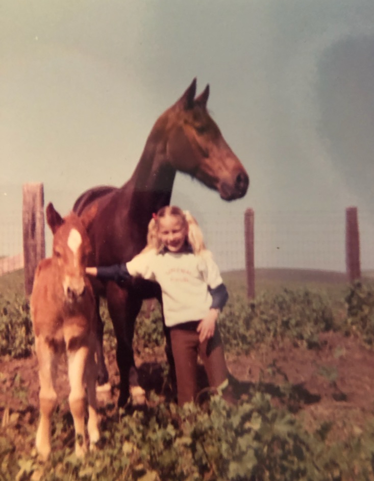 "Princess Nile with the colt and Tammy Rose when she was about four years old. Tammy and the colt ""Squirt"" grew up together. She roped off him and did many other events. Photo courtesy Tammy Rose."