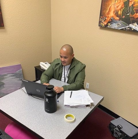 Case Manager Daniel Padron working out of the arts room at the Esperanza Center. Photo courtesy of SBC Behavioral Health.