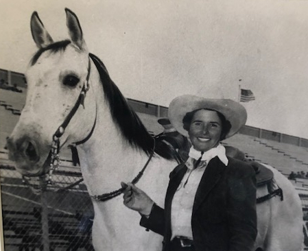 Lola Galli with her horse Cream Puff. Photo Courtesy Saddle Horse Show and Rodeo Museum