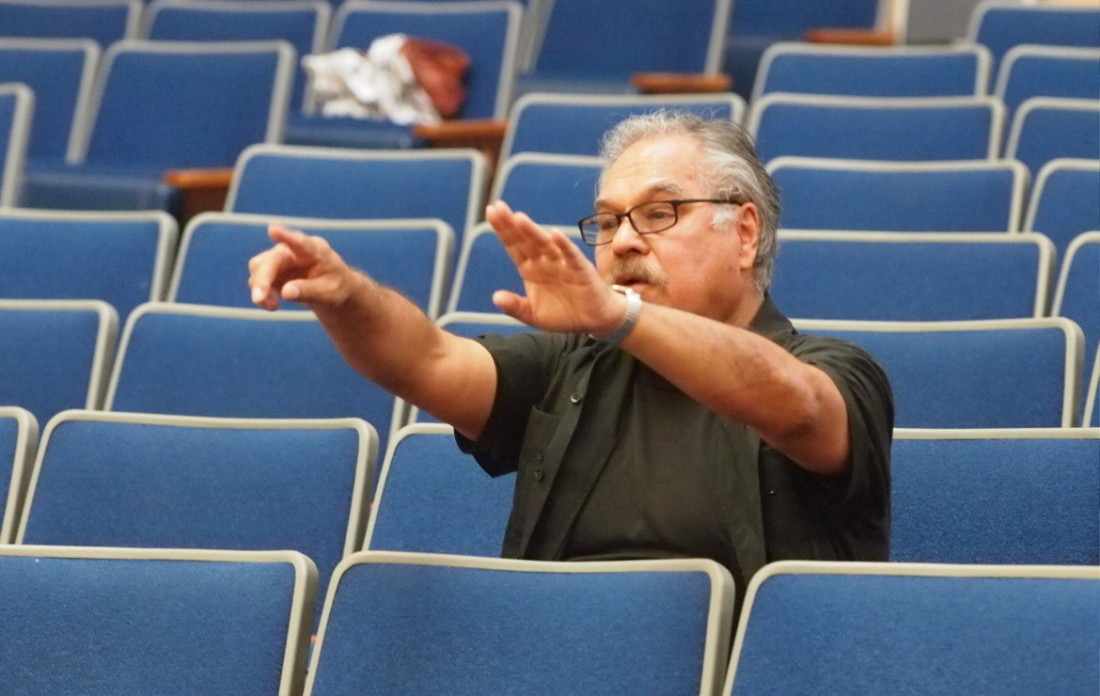 "Luis Valdez directing a staged reading of ""Valley of the Heart."" Photo by Robert Eliason."