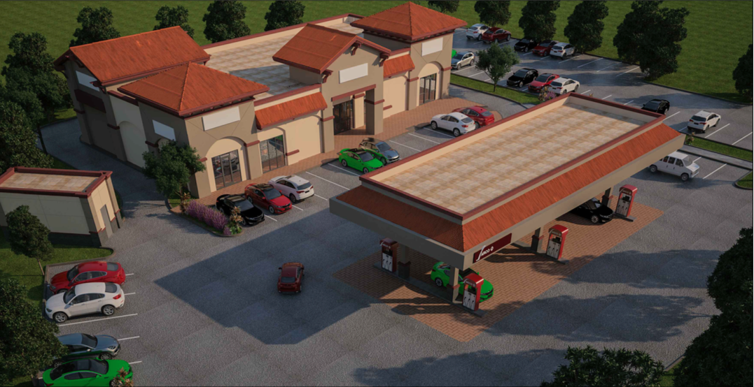A rendering of the gas station design rejected by the SJB Planning Commission. Image from June 3 meeting agenda packet.
