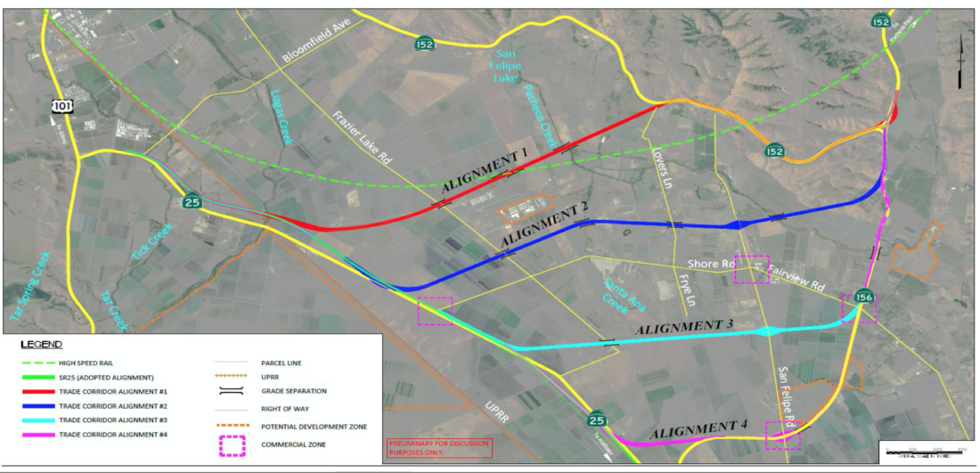 Map of proposed alignments for the New Trade Corridor. Image courtesy of Mobility Partnership.