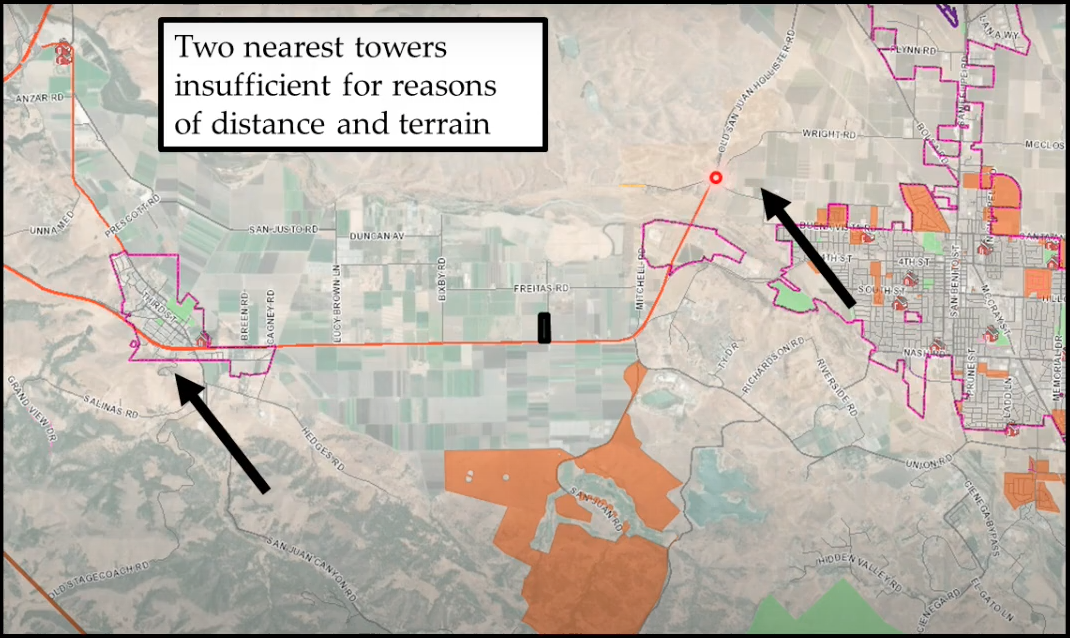 Image of locations of two existing communications towers.