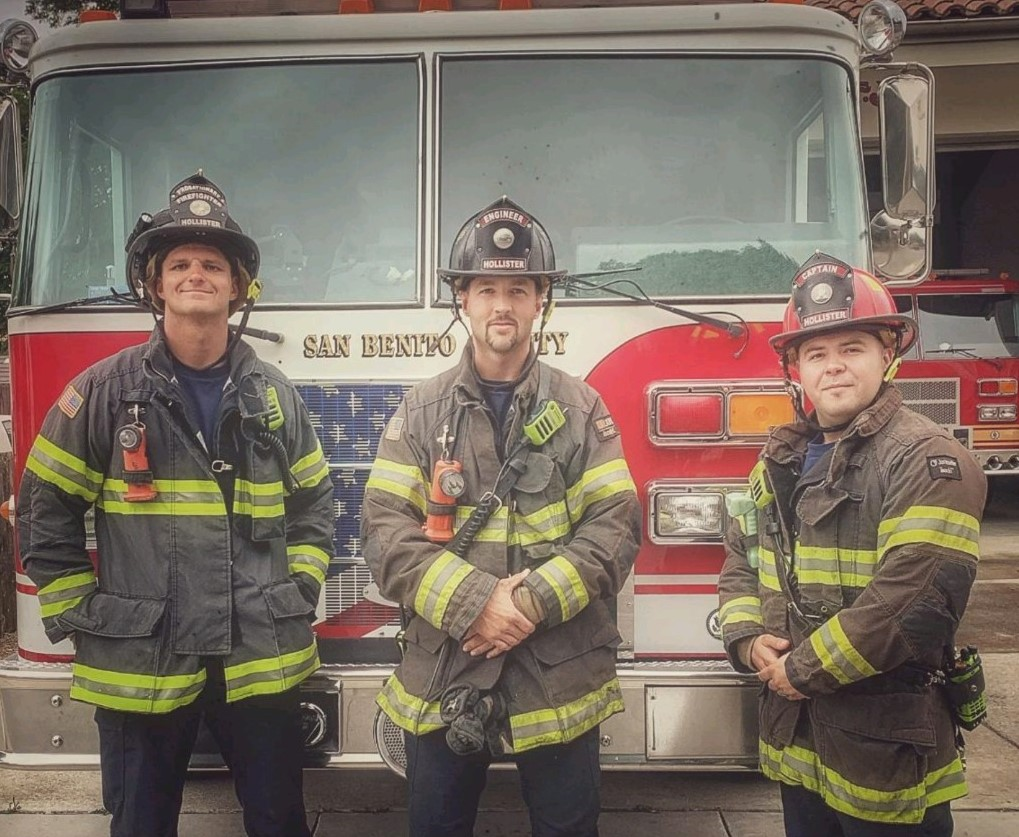 Camaraderie is a key feature found at local firehouses as seen with firefighter Taylor Siemann, Engineer Holden Renz and Captain Johnny Amescua. Photo courtesy of Holden Renz.