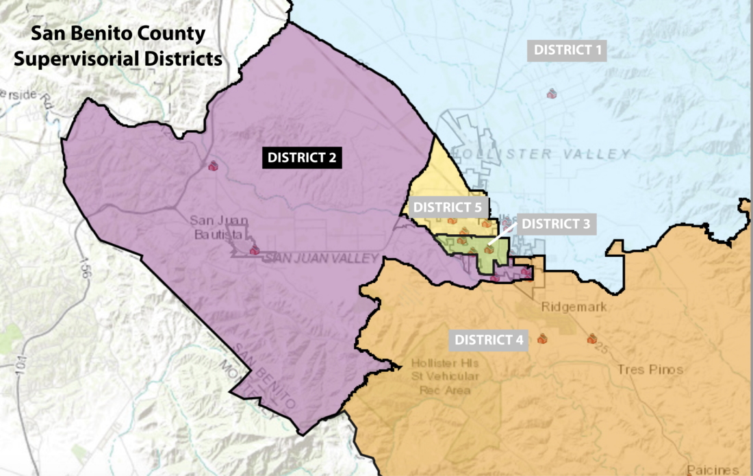 Supervisorial Districts. Image courtesy of county website.