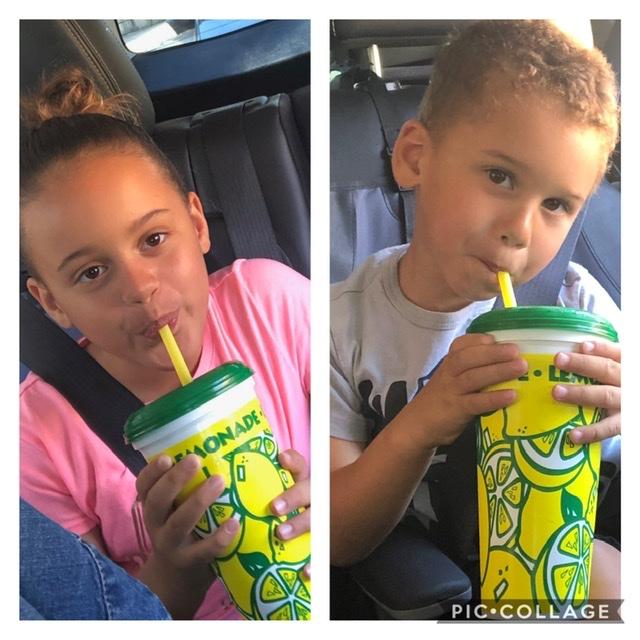 Tatiana Johnson her brother Cameron enjoy their lemonade. Photo courtesy of Audrey Johnson.