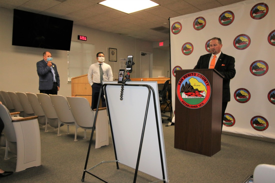 County Information Officer David Westrick (right), Supervisors Peter Hernandez (center) and Anthony Botelho (left) announced the plan to give $1.5 million in grants to small businesses. Photo by John Chadwell.