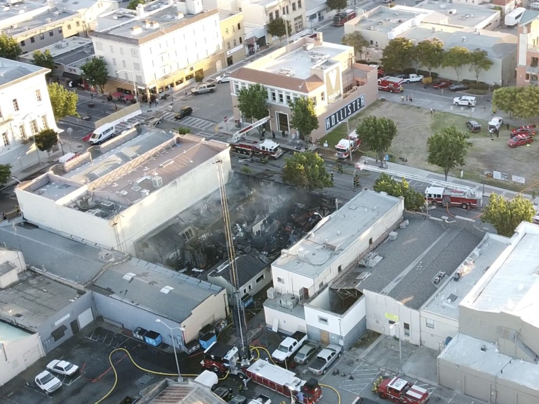 Structure fire in downtown Hollister on July 12. Photo courtesy of Jake Medina.