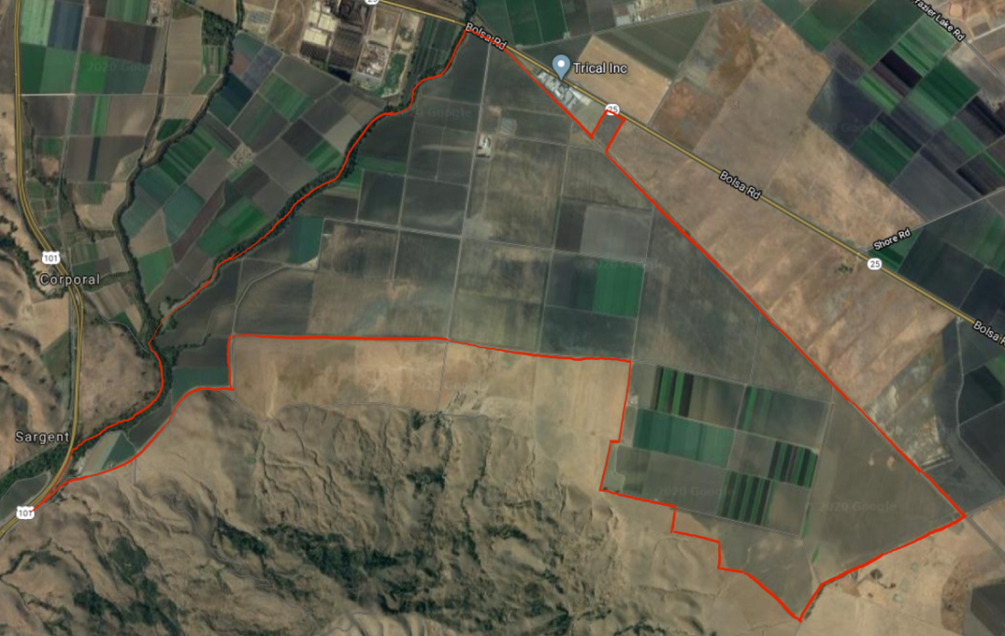 Proposed Strada Verde site. Approximate boundaries in red, added by BenitoLink. Image courtesy of Google Maps.