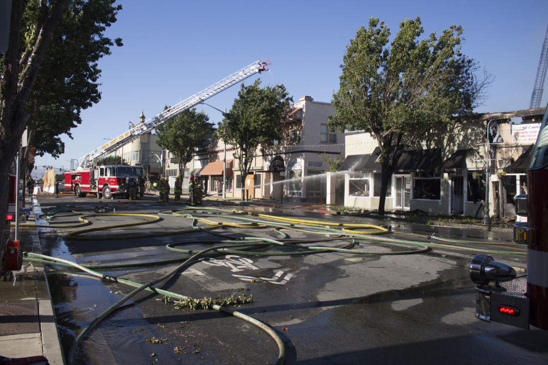 Hollister Fire Department responded to a downtown fire that damaged about four businesses. Photos by Noe Magaña.