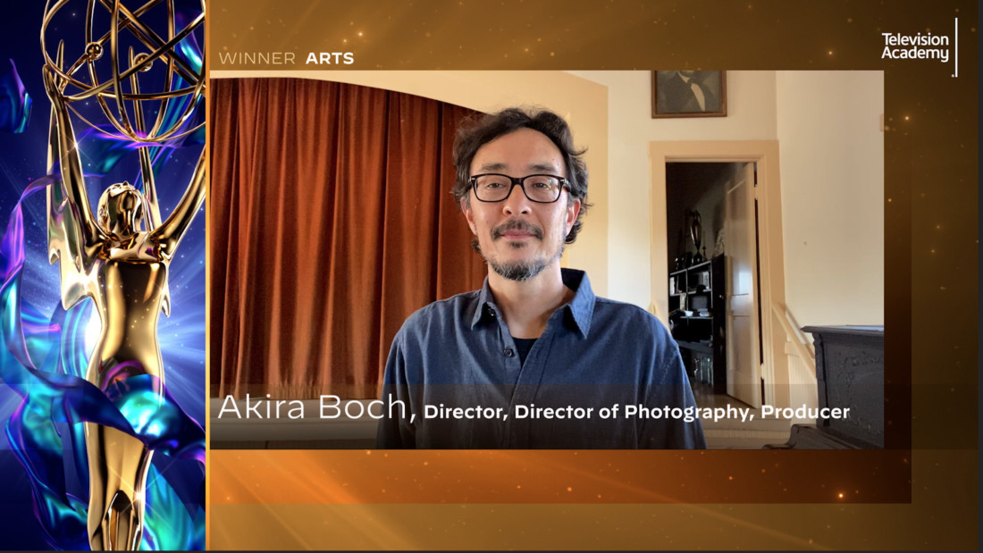 "Akira Boch makes his acceptance speech for ""Masters of Modern Design: The Art of the Japanese American Experience"" at the 2020 Los Angeles Area Emmy Awards, which streamed live on July 18. Photo courtesy of the Television Academy via Invision/AP."