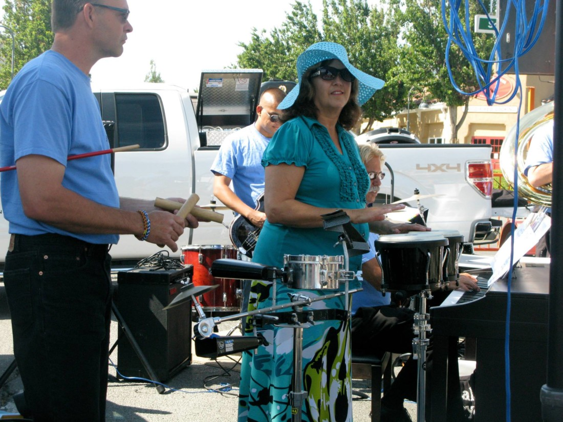 Noelle Sladon, vocalist and teacher at the academy, plays drums with the Jazz Band. Photo courtesy of Noelle Sladon.