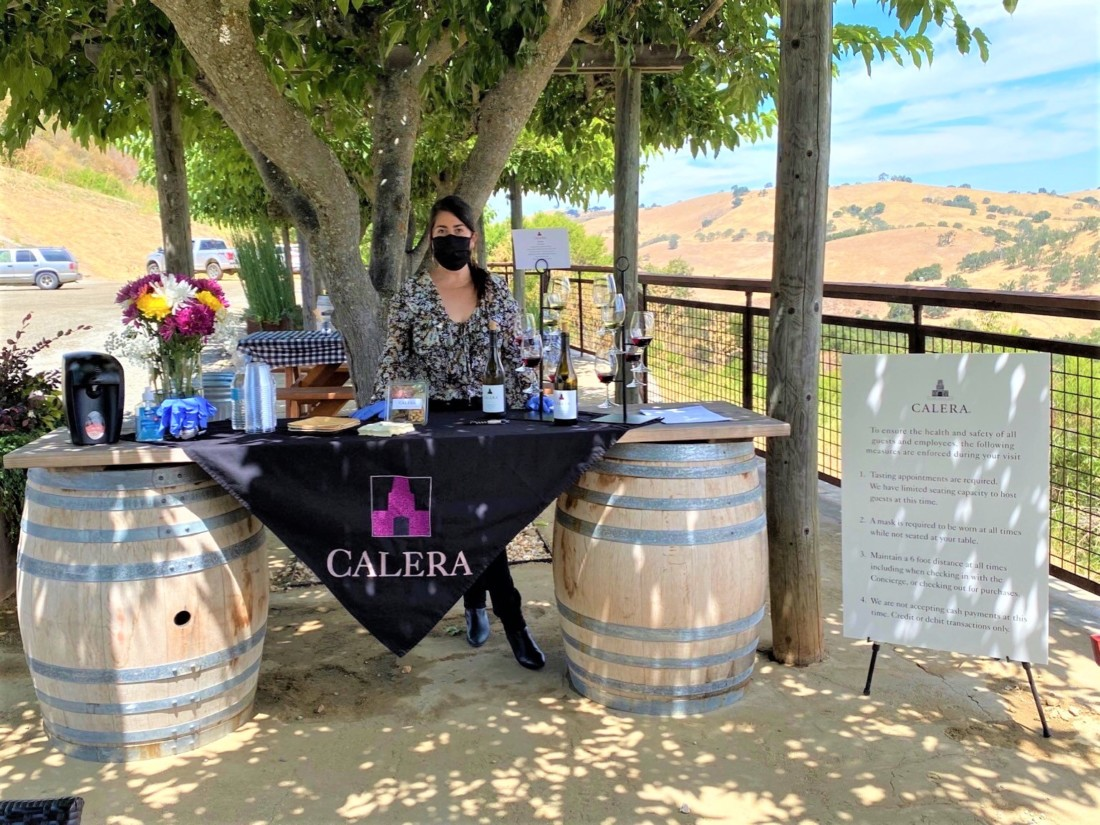 Calera Wine Company currently hosts wine tastings outside with views of the surrounding hills. Photo courtesy of Calera Wine Company.