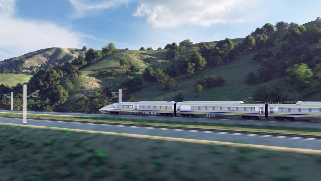 Concept drawing of the high-speed rail. Image courtesy of California High-Speed Rail Authority.