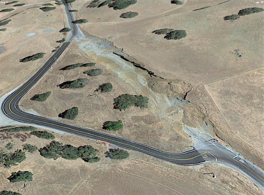 The first curve realignment project in 2015 lasted barely three months before it caved in. Photo courtesy of Google Maps.