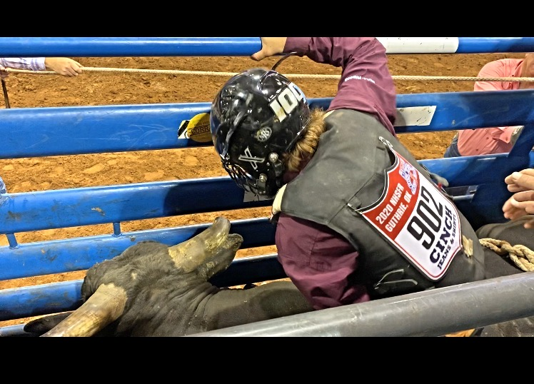 Kenneth Moore (#902) prepares for the gates to open and the bull to be released. Photo courtesy of Kenneth Moore.