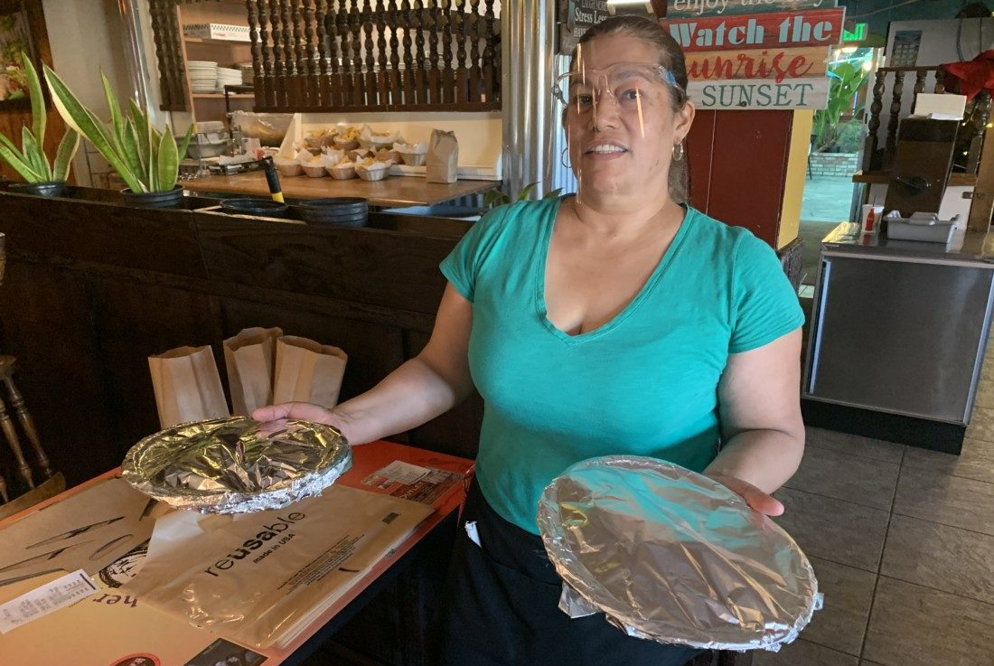 Reyna Fausto working at Doña Esther's Restaurant in San Juan Bautista. Photo by Robert Eliason