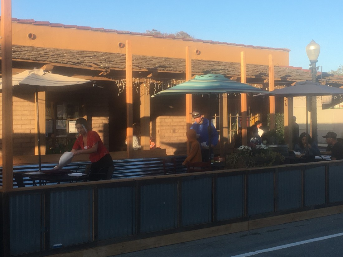 The parklet shared by Brewery 25 and Doña Esther's. Photo by Andrew Pearson.