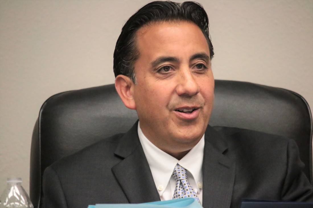 Mayor Ignacio Velazquez quizzed SBHS Superintendent Sean Tennenbaum about the potential cost of a new high school. File photo by John Chadwell.