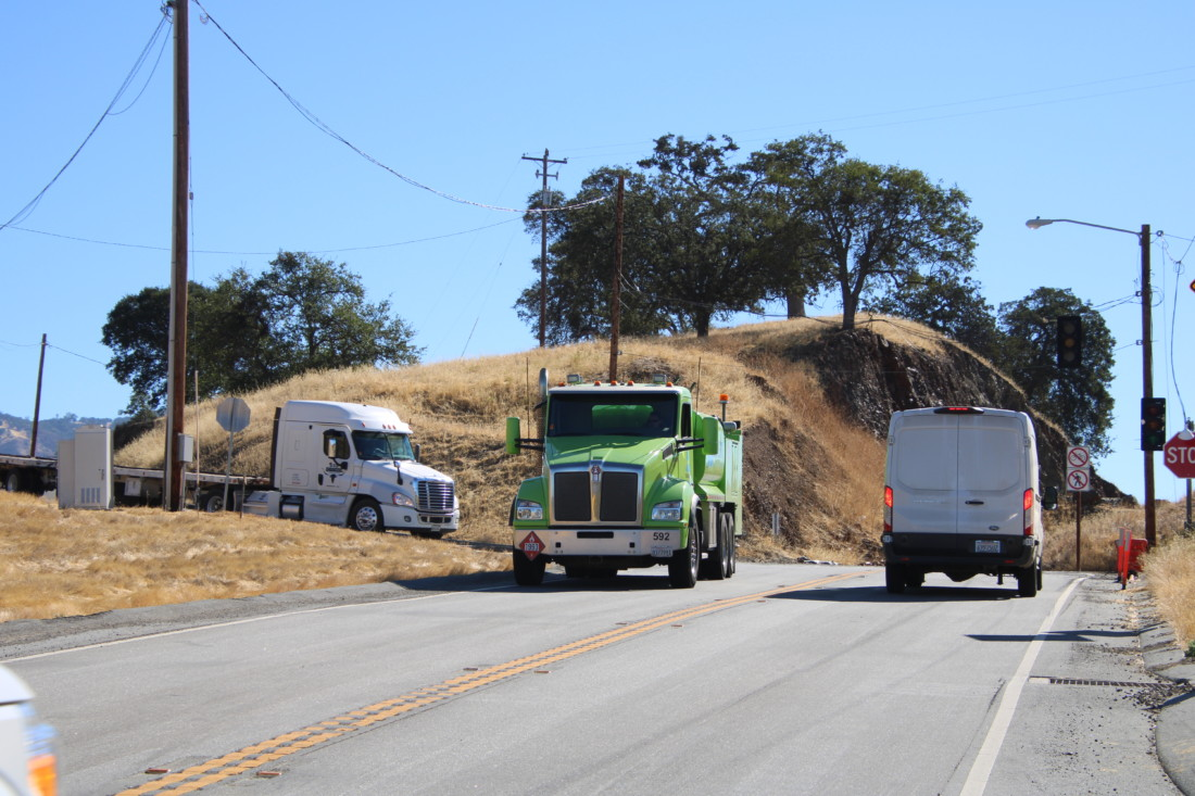 Heavy trucks, RVs and motorcycles move through the curve every day.