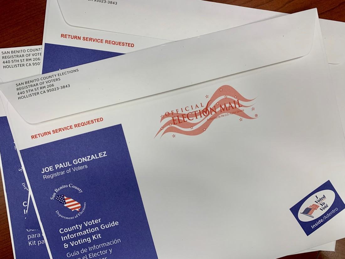 """Voting Kit. The area below """"Official Election Mail"""" is where the voter address will be. Photo provided by the San Benito County Elections Department."""