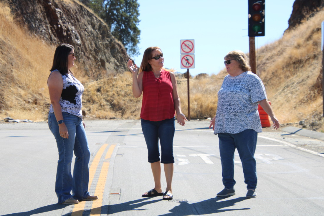 South County residents Shelly Krieger, Barbara Hearne and JoAnne Falsey have voiced their opposition to the Highway 25 curve realignment since 2015. Photos by John Chadwell.