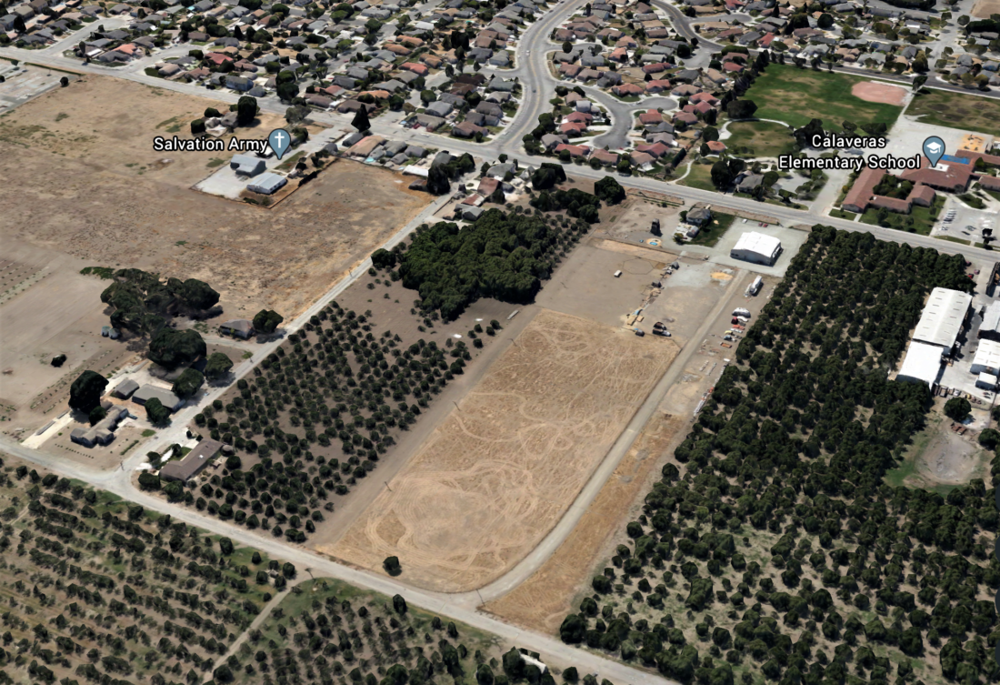 The 9.3-acre Woodle property is located at 1070 Buena Vista Road and is near Calaveras Elementary School. Photo courtesy of Google Earth.