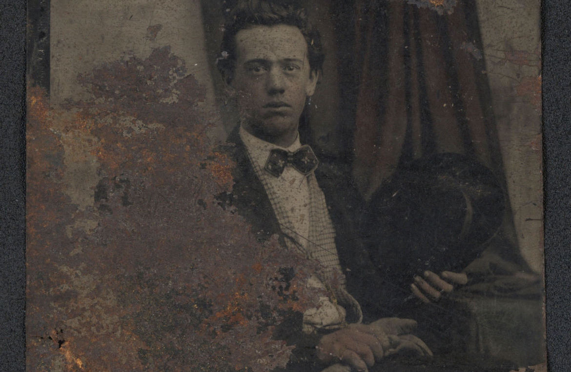 B. B. Barker, date unknown. Tintype mirrored to show true orientation. Photo courtesy of Lee Chandler.