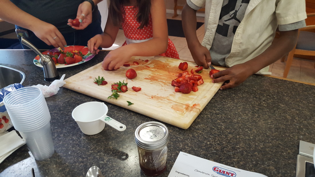 Chamberlain's kids making a recipe by California Giant. Photo provided by Chamberlain's Youth Services.