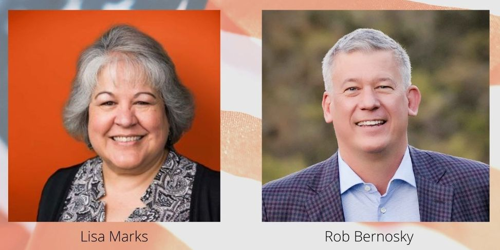 Hollister School District Trustee Area 4 candidates Lisa Marks and Rob Bernosky.