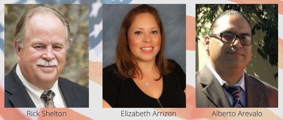 San Benito Health Care District, Zone 5 candidates Rick Shelton, Elizabeth Arrizon and Alberto Arevalo.