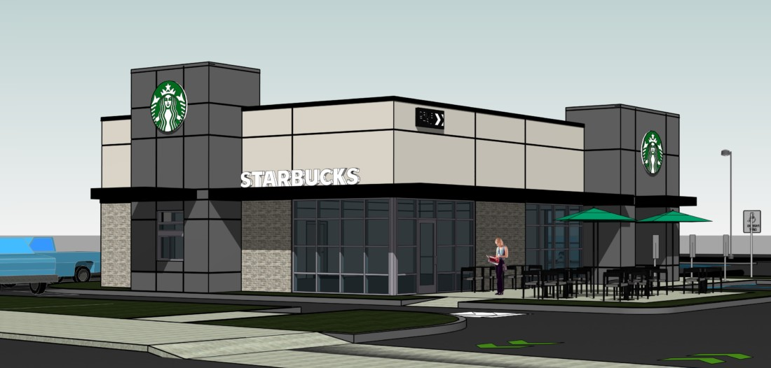 The Starbucks cafe will open in the summer of 2021. Rendering from meeting agenda packet.