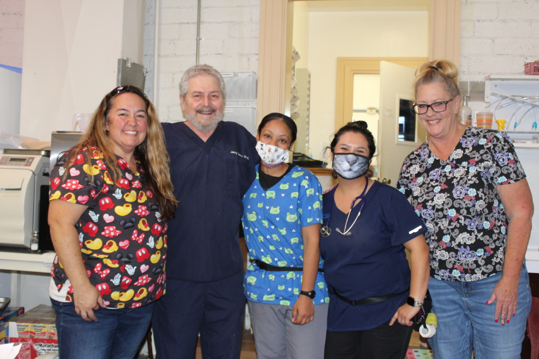 Staff at the San Benito Veterinary Center, formerly called the Hollister Veterinary Clinic. Photo by Carmel de Bertaut.