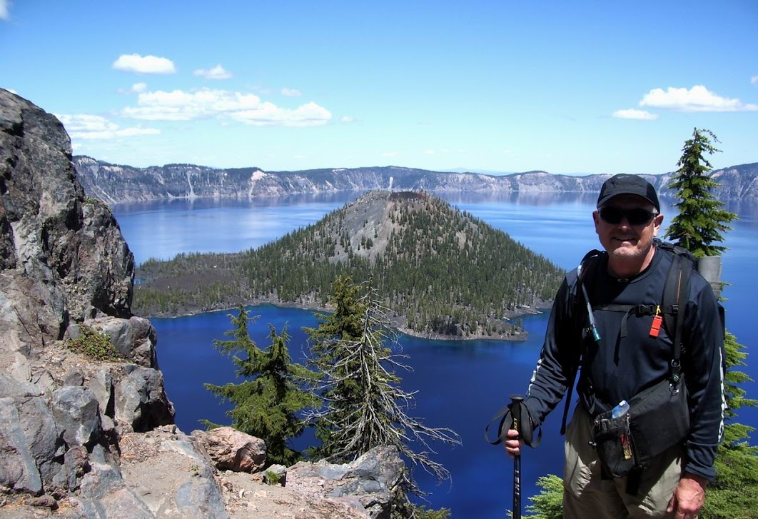 Jim Ostdick at Crater Lake Rim. Photo courtesy of Jim Ostdick.
